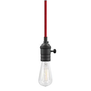 Soco Satin Nickel One-Light 8-Feet Vintage Socket Mini Pendant with Red Cord