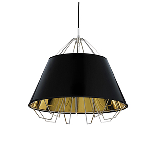 Artic Satin Nickel One-Light Pendant with Gloss Black-Gold Shade and Black Cord