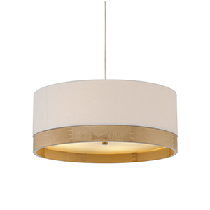 Topo Polished Nickel 24-Inch Four-Light Pendant with White Shade and Maple Wood Trim