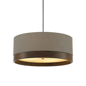 Topo Antique Bronze 24-Inch Four-Light Pendant with Heather Gray Shade and Walnut Wood Trim
