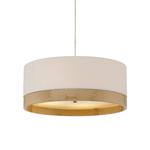 Topo Polished Nickel 36-Inch Four-Light Pendant with White Shade and Maple Wood Trim