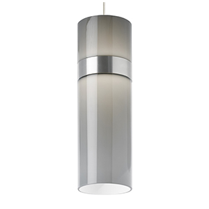 Manette Satin Nickel LED Grande Mini Pendant with Smoke Glass