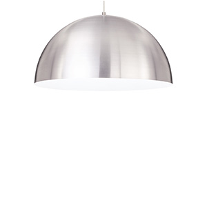 Powell Street Satin Nickel One-Light Fluorescent Pendant with White Shade