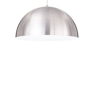 Powell Street White One-Light Fluorescent Pendant with Satin Nickel Shade