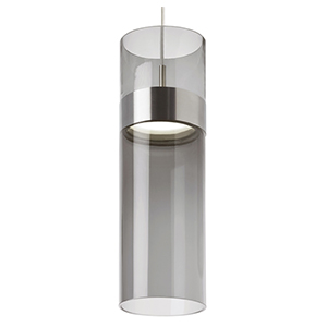 Manette Satin Nickel LED Grande Mini Pendant with Transparent Smoke Glass