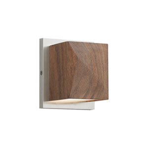 Cafe Walnut and Satin Nickel LED Wall Sconce