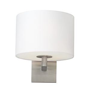 Chelsea Satin Nickel One-Light Fluorescent Wall Sconce with White Fabric Shade