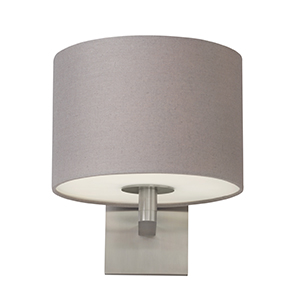 Chelsea Satin Nickel One-Light Fluorescent Wall Sconce with Heather Gray Fabric Shade