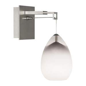 Ensu Satin Nickel One-Light Wall Sconce with Satin Nickel Stem