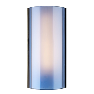 Jaxon Satin Nickel One-Light Wall Sconce with Steel Blue Glass