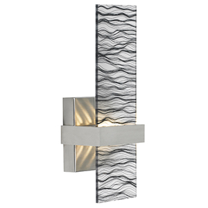 Mura Satin Nickel LED Wall Sconce with Smoke Glass