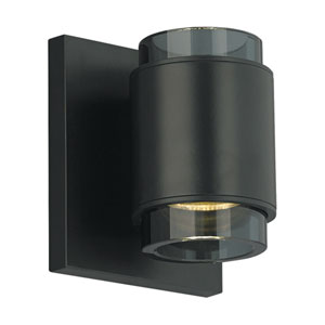 Voto Round Black One-Light LED Wall Sconce with Smoke Shade and Black Stem