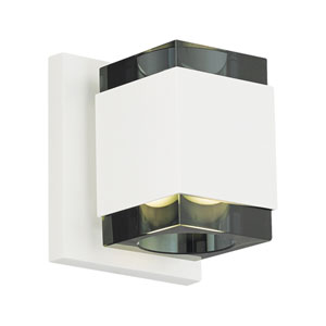 Voto Square White One-Light LED Wall Sconce with Smoke Shade and White Stem