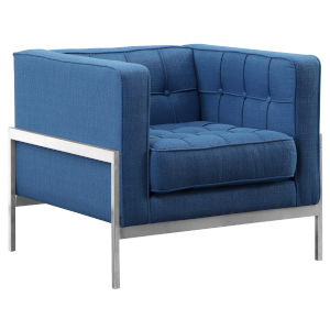 Andre Blue with Brushed Stainless Steel Sofa Chair