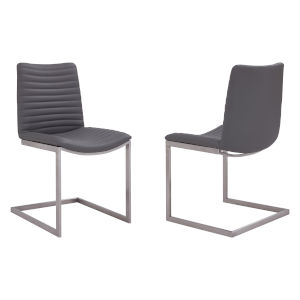 April Gray with Brushed Stainless Steel Dining Chair, Set of Two