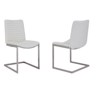April White with Brushed Stainless Steel Dining Chair, Set of Two