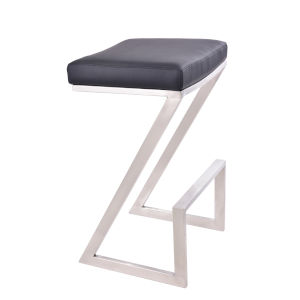 Atlantis Black and Stainless Steel 30-Inch Bar Stool