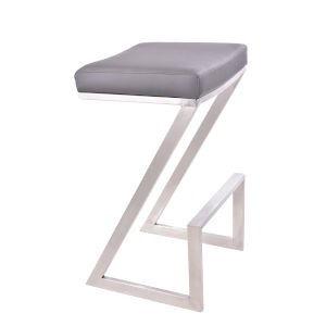 Atlantis Gray and Stainless Steel 30-Inch Bar Stool