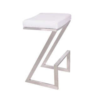 Atlantis White and Stainless Steel 30-Inch Bar Stool