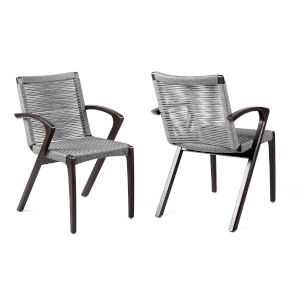 Brielle Dark Eucalyptus Outdoor Dining Chair, Set of Two