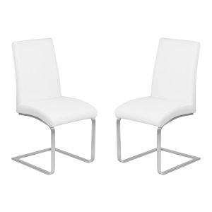 Blanca White with Brushed Stainless Steel Dining Chair, Set of Two