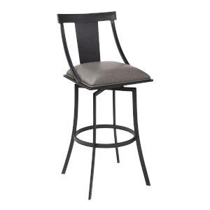 Brisbane Matte Black and Vintage Gray 30-Inch Bar Stool