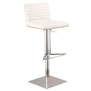 Café White and Chrome 32-Inch Bar Stool