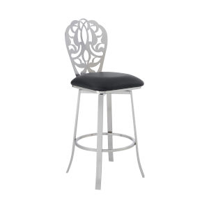Cherie Black and Stainless Steel 26-Inch Counter Stool