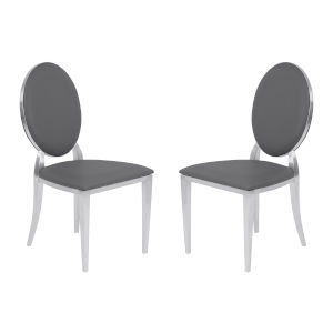 Cielo Gray with Brushed Stainless Steel Dining Chair, Set of Two
