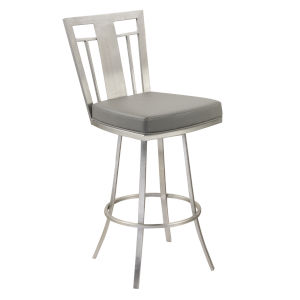 Cleo Gray and Stainless Steel 30-Inch Bar Stool