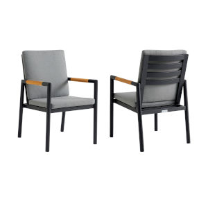 Crown Black Outdoor Dining Chair, Set of Two