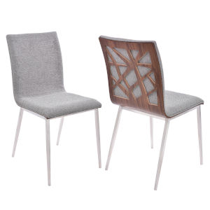 Crystal Gray with Walnut Dining Chair, Set of Two