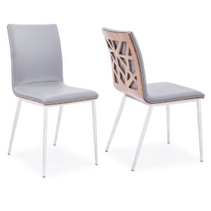 Crystal Gray Leather with Walnut Dining Chair, Set of Two
