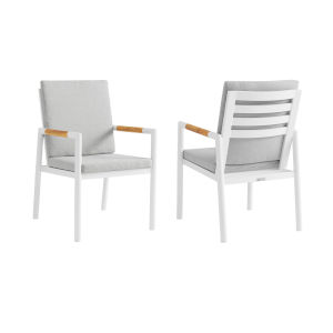 Crown White Outdoor Dining Chair, Set of Two