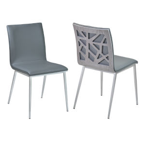 Crystal Gray with Brushed Stainless Steel Dining Chair, Set of Two