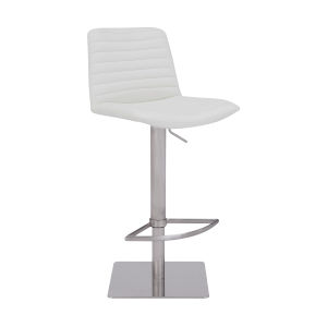 Carson White and Stainless Steel 31-Inch Bar Stool