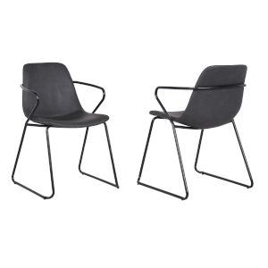 Colton Gray with Black Powder Coat Dining Chair, Set of Two