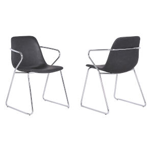 Colton Gray with Chrome Dining Chair, Set of Two