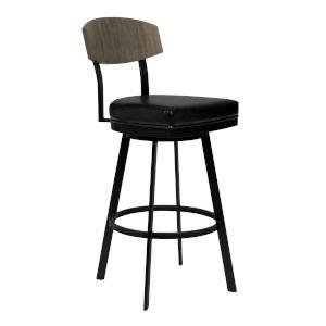 Frisco Matte Black 30-Inch Bar Stool