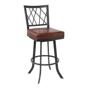Giselle Matte Black and Vintage Coffee 30-Inch Bar Stool