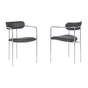 Gwen Gray with Chrome Dining Chair, Set of Two