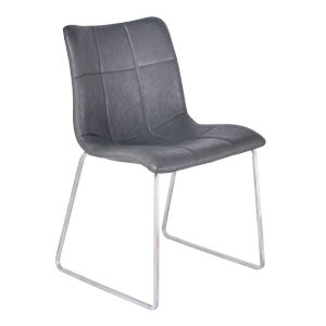 Hamilton Vintage Gray with Brushed Stainless Steel Dining Chair, Set of Two