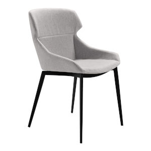 Kenna Gray with Matte Black Dining Chair, Set of Two