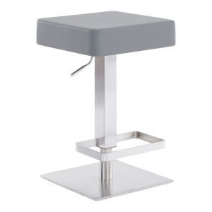 Kaylee Gray and Stainless Steel 34-Inch Bar Stool