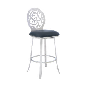 Lotus Gray and Stainless Steel 30-Inch Bar Stool
