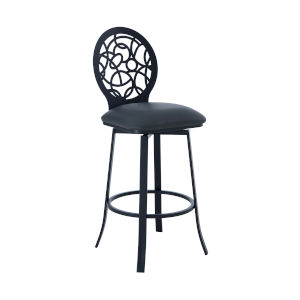 Lotus Matte Black 30-Inch Bar Stool