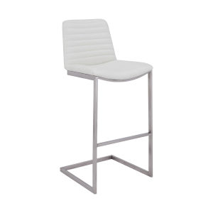 Lucas White and Stainless Steel 25-Inch Counter Stool