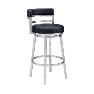 Madrid Black and Stainless Steel 30-Inch Bar Stool