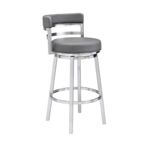 Madrid Gray and Stainless Steel 26-Inch Counter Stool