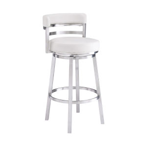 Madrid White and Stainless Steel 30-Inch Bar Stool